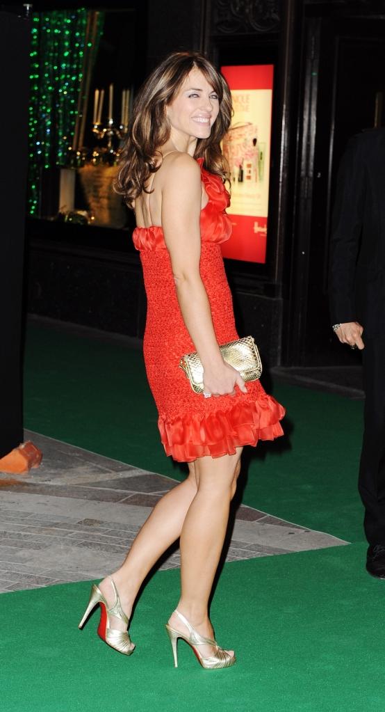 liz hurley red dress