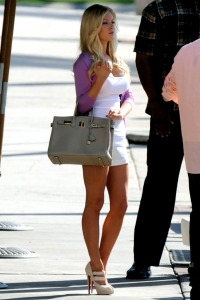 heidi montag in a tank top, short shorts and high heels