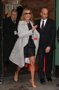 jennifer aniston leaving GMA in short dress and high heels