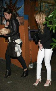 Hilary Duff Leaving Pace Restaurant in White Jeans and High Heels
