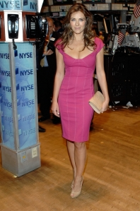 Elizabeth Hurley pink dress cleavage and high heels