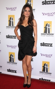 Mila-Kunis hollywood awards LBD and heels