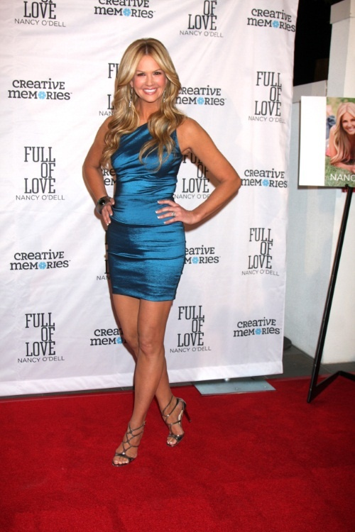 nancy odell blue dress and heels