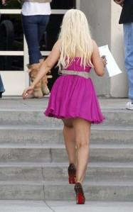 christina aguillera pink dress and heels