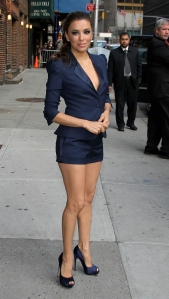 Eva Longoria leggy in a short blue suit