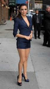 Eva Longoria leggy in a short blue suit