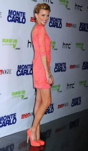 Katie Cassidy Monte Carlo premiere in mini dress leggy heels