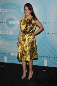 sarah shahi dress silver heels