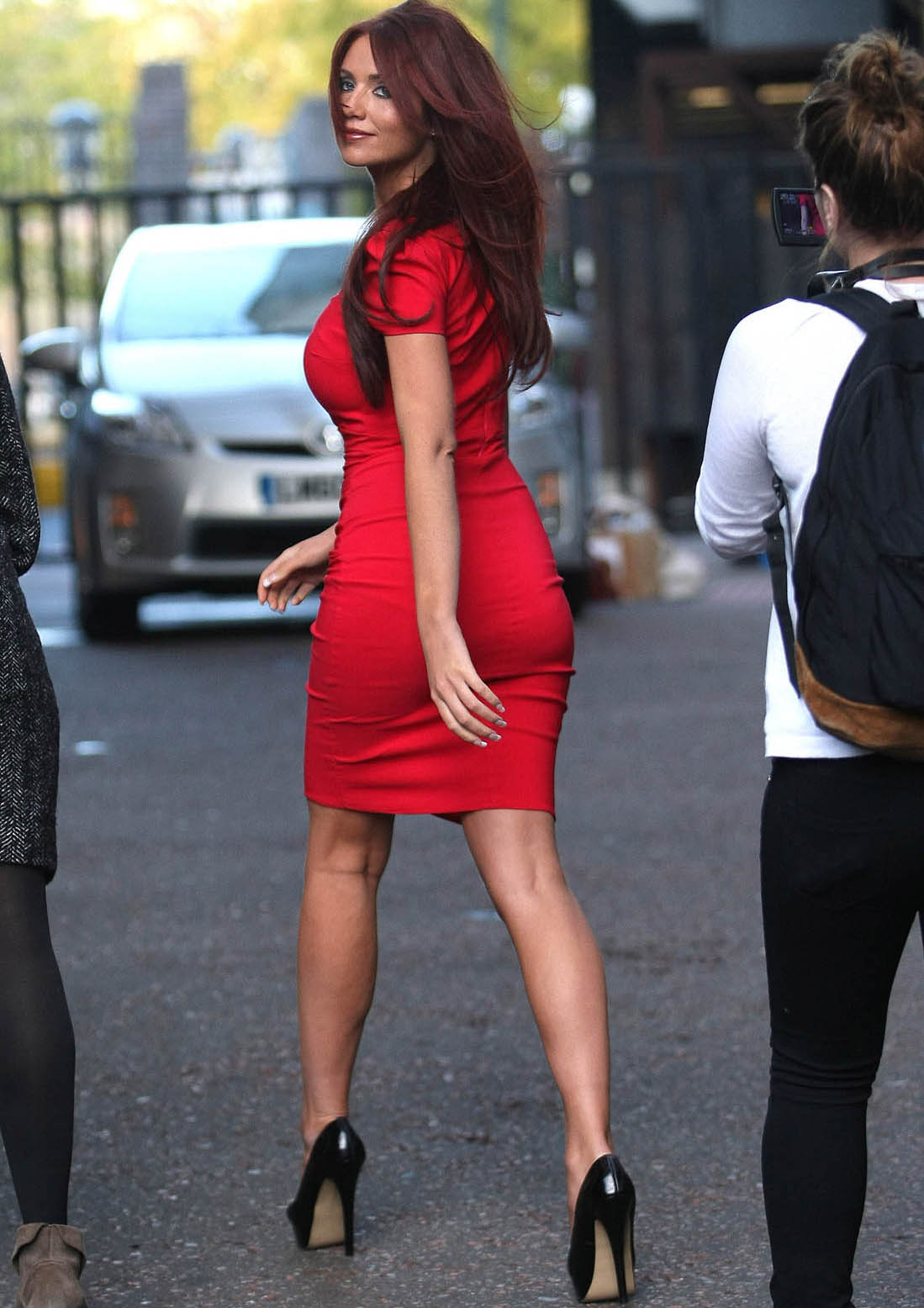 Amy Childs Has Great Curves and Sexy Legs in a Tight Dress and High
