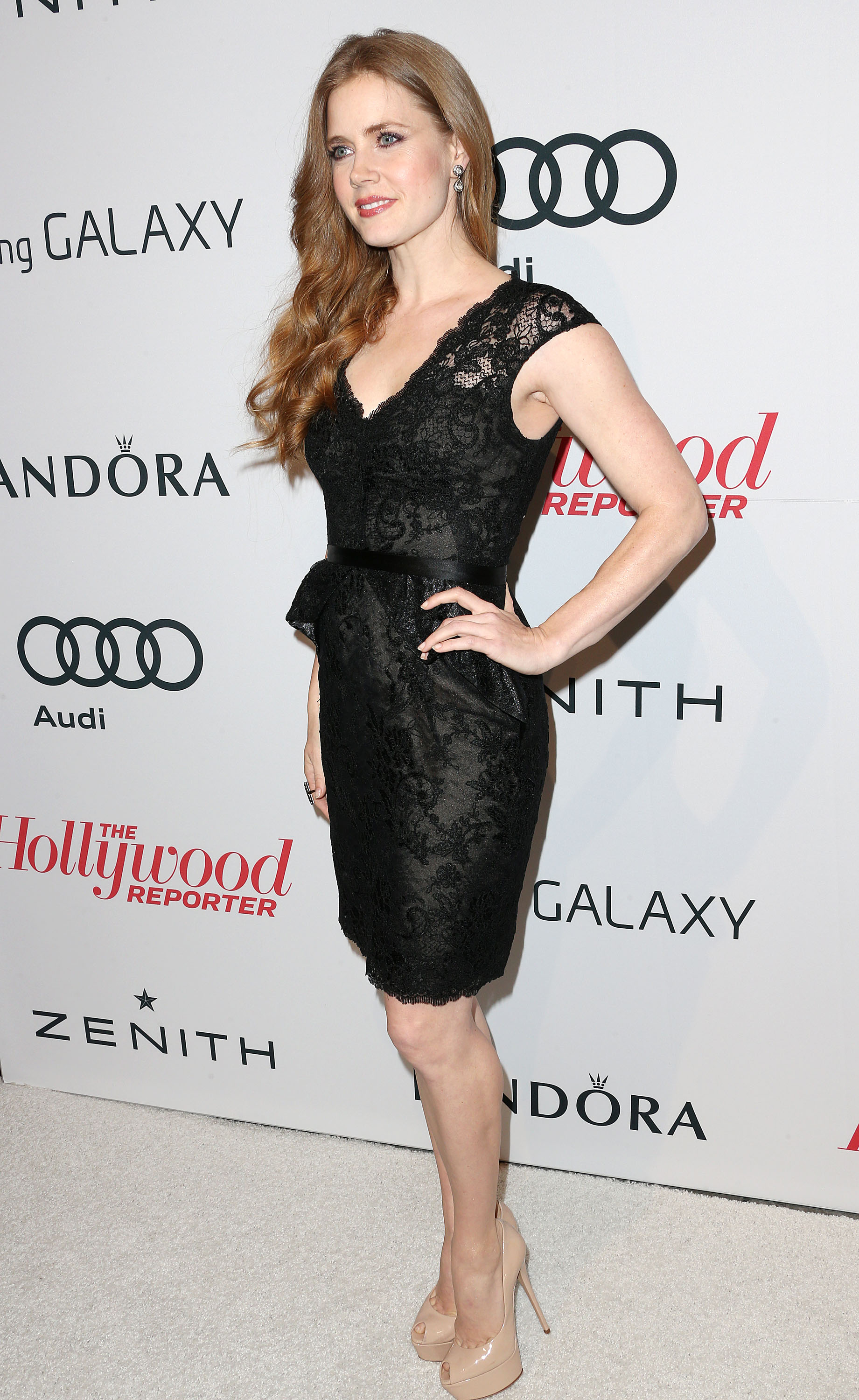 Amy Adams is Lovely in a Lace Little Black Dress and High Heels