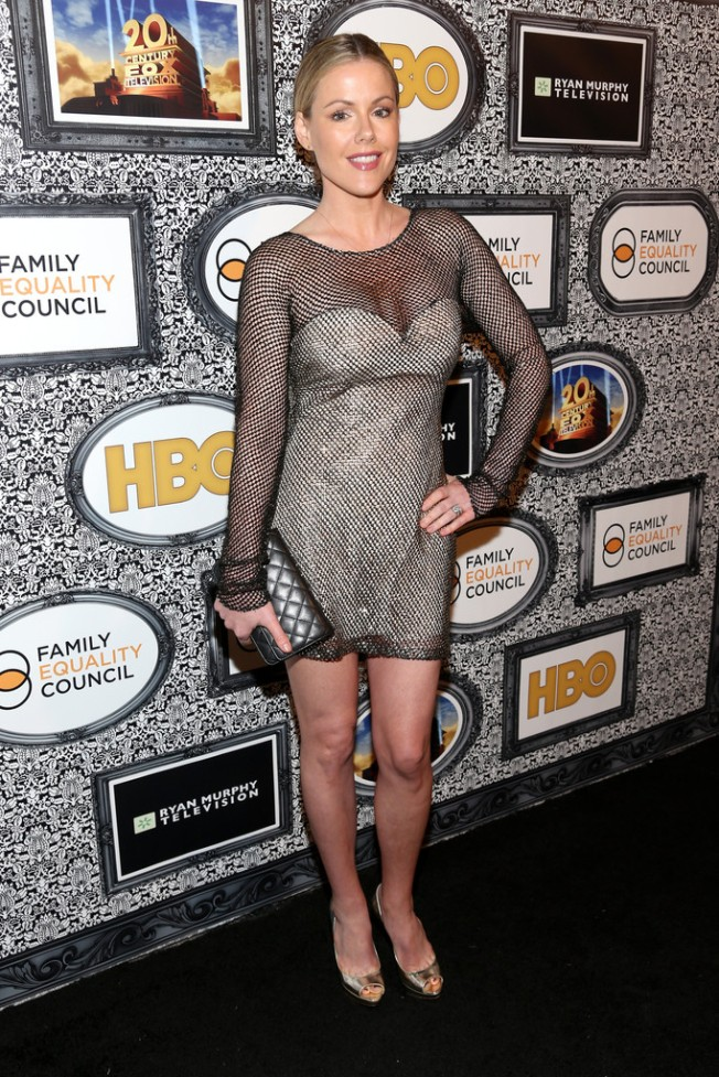 kathleen robertson sexy legs and cleavage in a see through
