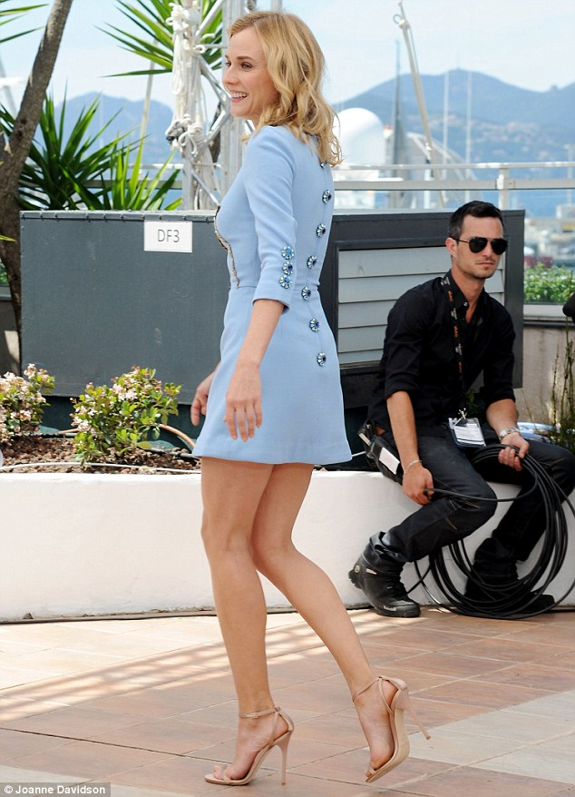 In a short blue dress and high heels at cannes only in high heels