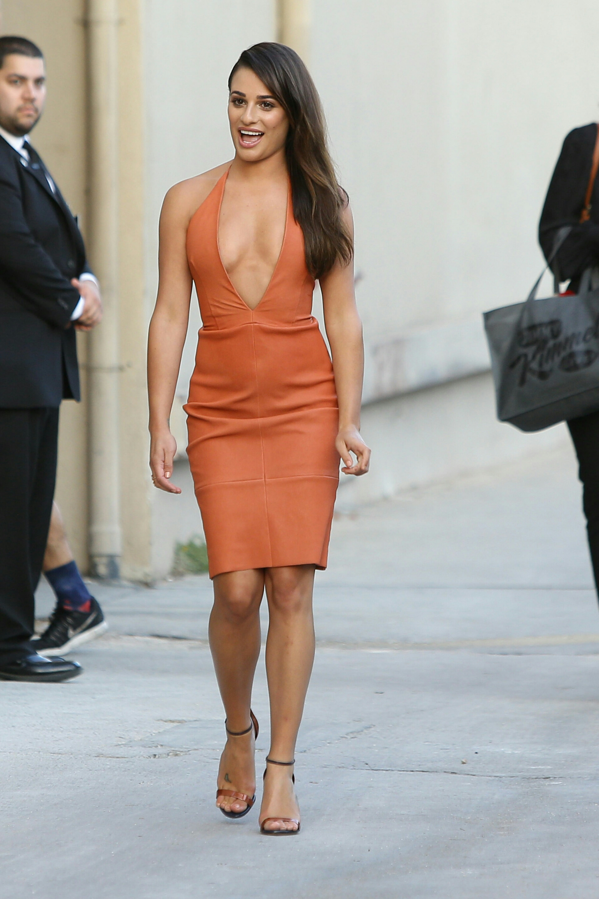 Lea Michele Showing Off Her Sexy Curves And Great Legs In A