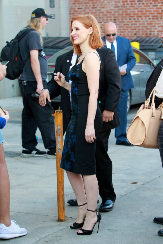 Jessica Chastain is drop dead gorgeous as she arrives at Jimmy Kimmel Live!