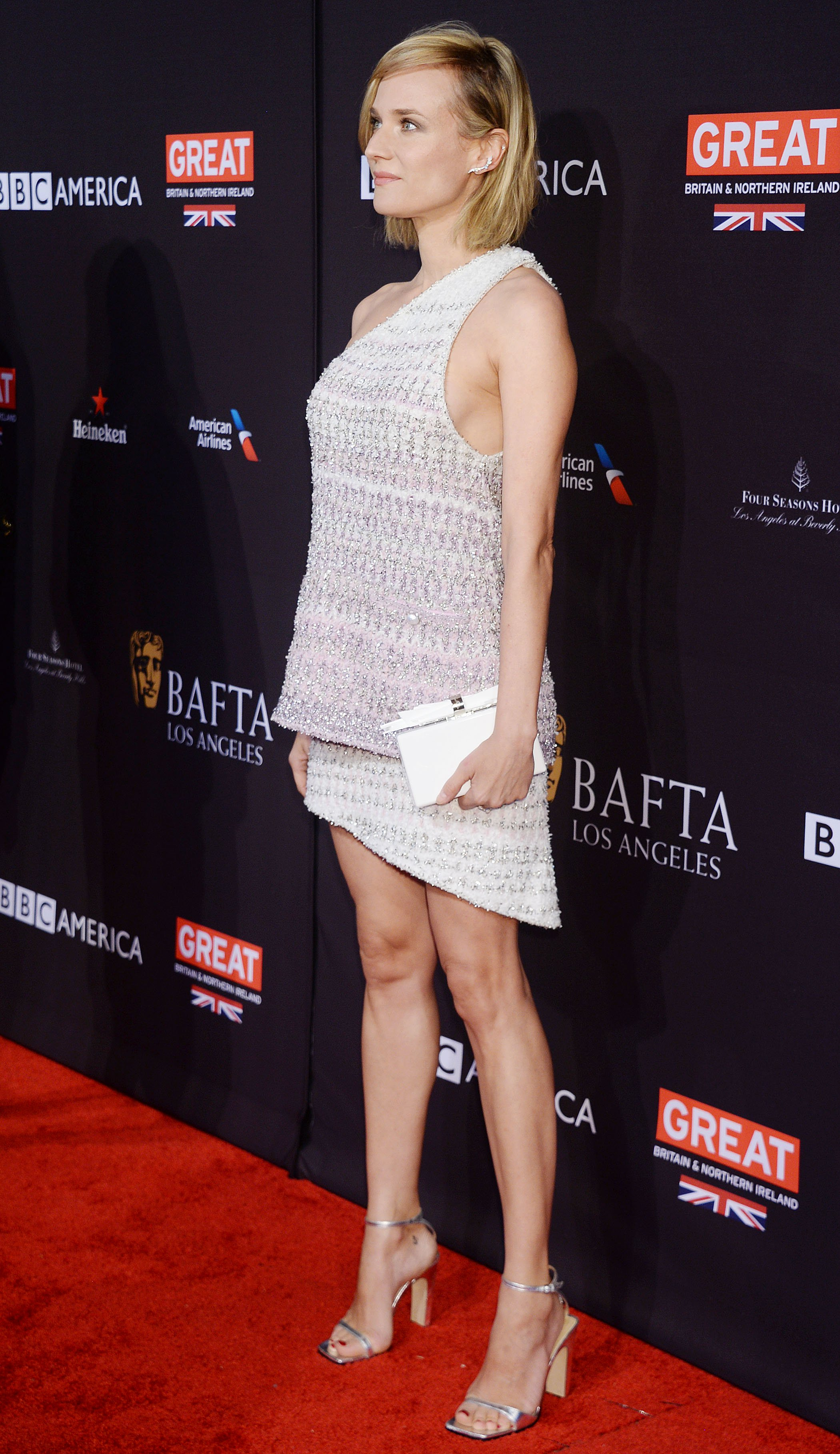 Diane Kruger Leggy In White On The Bafta Red Carpet  Only -4993
