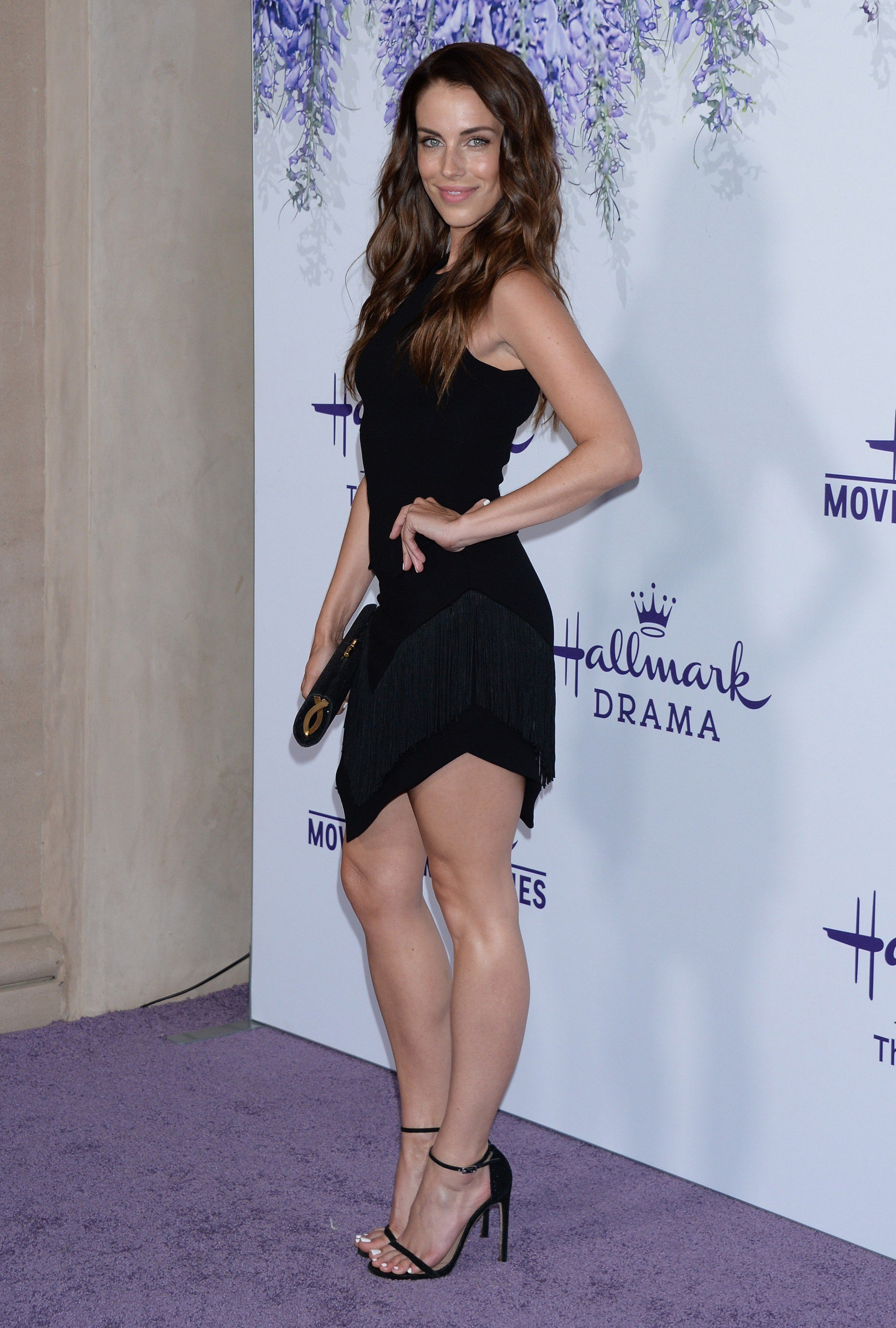 Jessica Lowndes Showing Off Her Sexy Legs In A Short Black Dress
