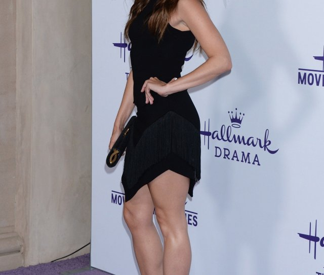Jessica Lowndes Showing Off Her Sexy Legs In A Short Black Dress Only In High Heels