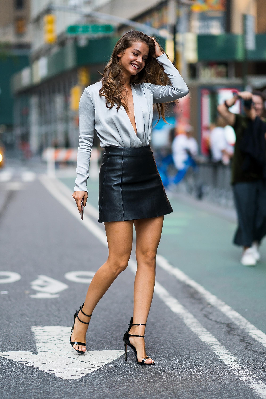 Long skinny legs in really short skirts